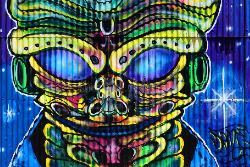 Błękitni dziwaczni Obcy graffiti obrazy royalty free