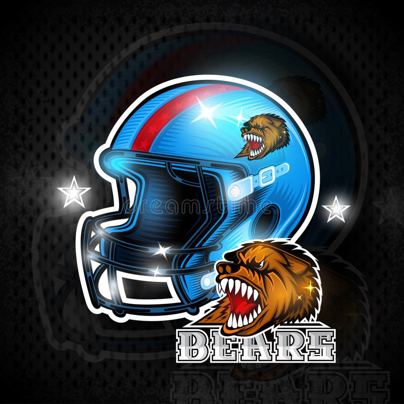 Błękitni futbol amerykański hełmy z niedźwiedź głowy etykietką zespalają się ilustracja wektor
