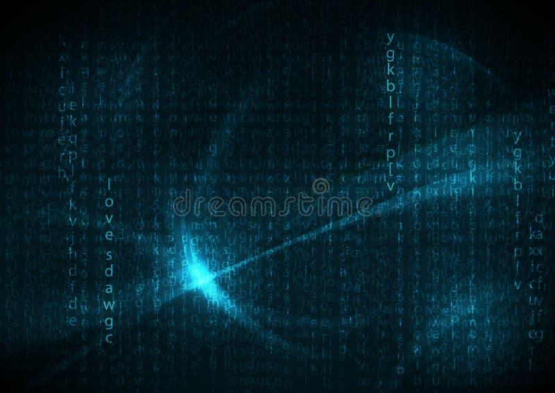 Błękitni futurystyczni anglika kodu abstrakta tła ilustracja wektor