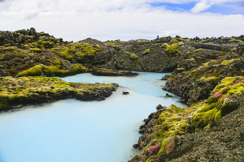 Błękitni geotermiczni baseny zdjęcia royalty free