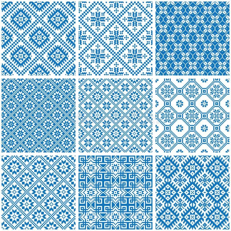 Błękitni i biali ornamentacyjni etniczni bezszwowi wzory ilustracja wektor