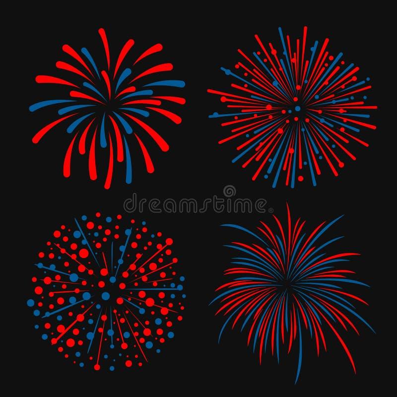 Błękitni i czerwoni abstrakcjonistyczni 4 fajerwerku stylowy wektorowy projekt ilustracja wektor