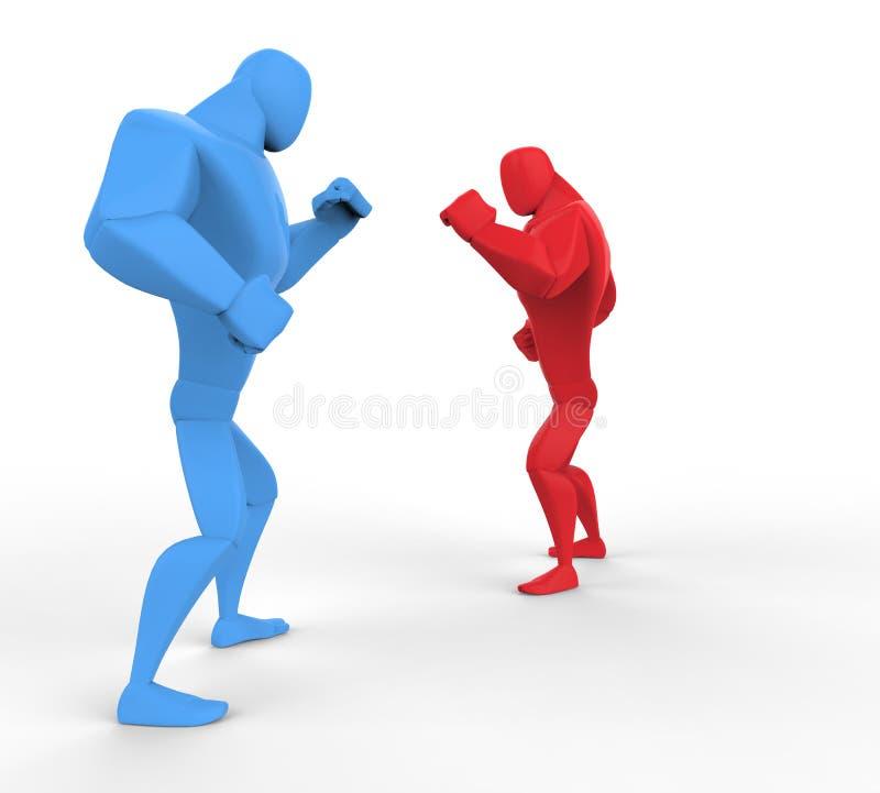 Błękitni i Czerwoni boksery przygotowywa dla walki royalty ilustracja