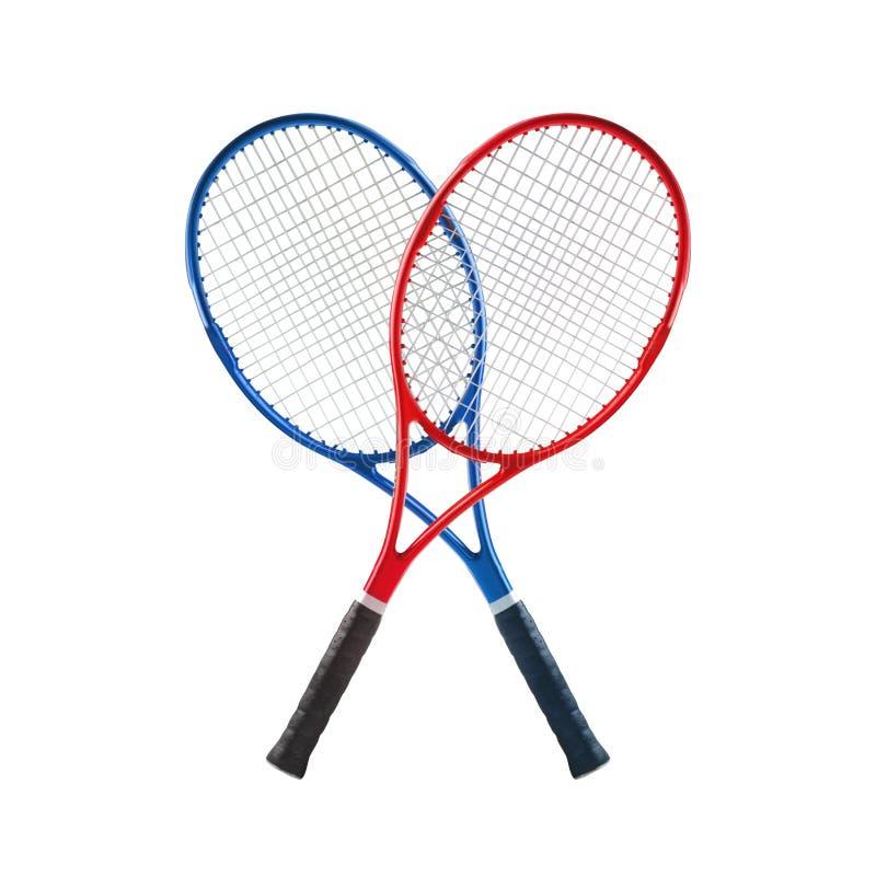Błękitni i czerwoni tenisowi kanty odizolowywali biel obrazy stock