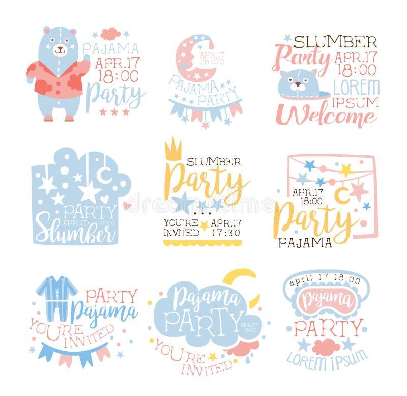 Błękitni I Różowi Girly piżamy przyjęcia zaproszenia szablony Ustawiają Zapraszać dzieciaków Dla sen Pyjama Sleepover Nocnych kar ilustracji