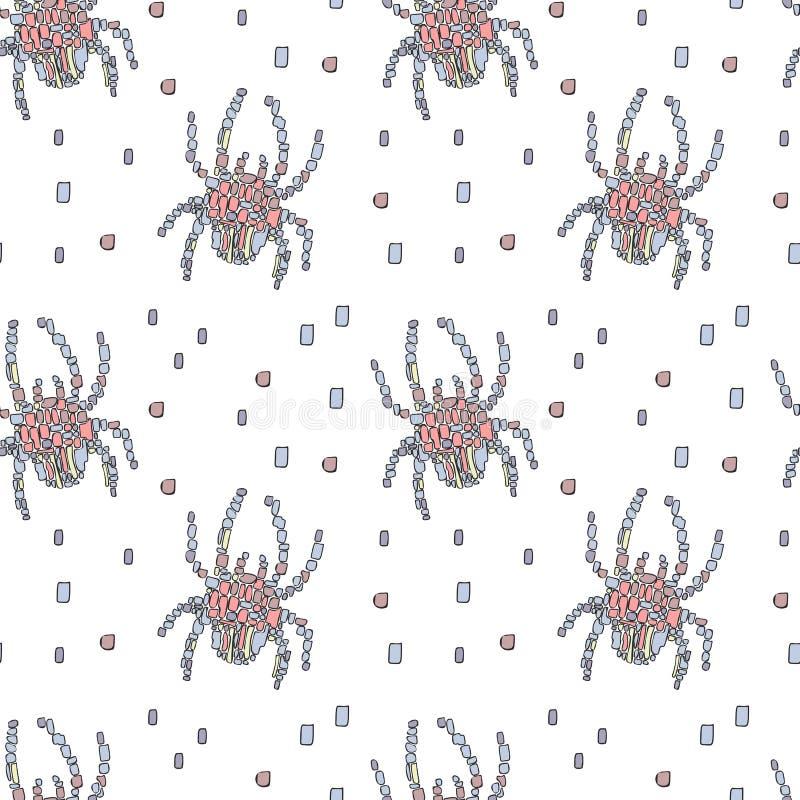 Błękitni i różowi mozaika pająki na białym tle ilustracji