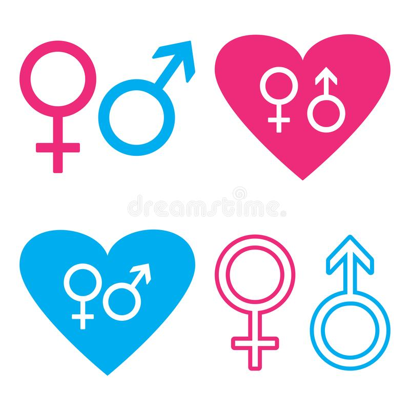 Błękitni i różowi symbole męscy i żeńscy wektor royalty ilustracja