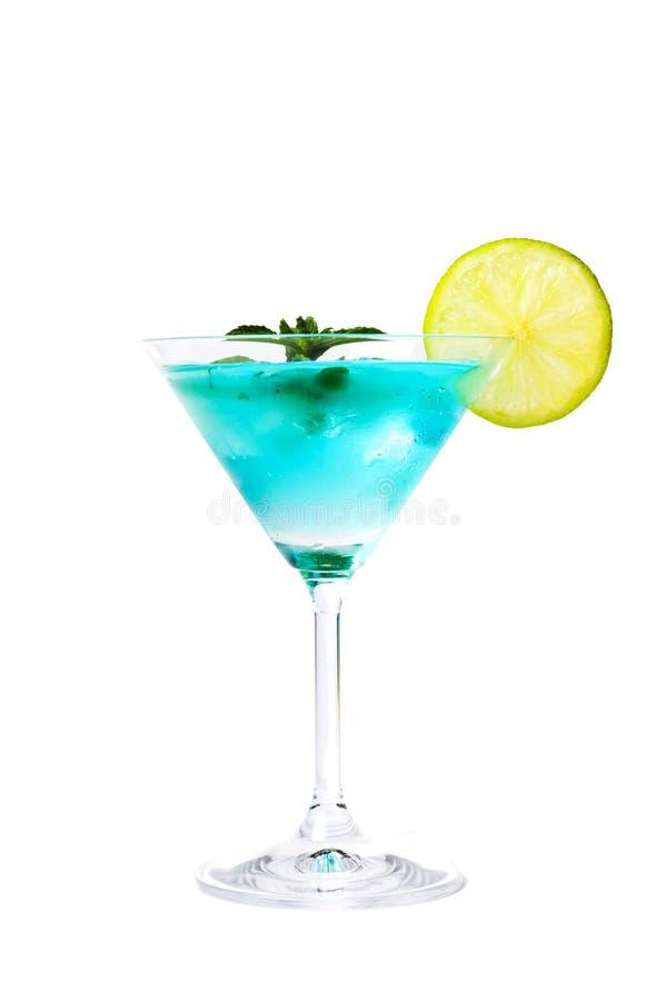 Błękitni koktajle dekorujący z cytryną fotografia stock