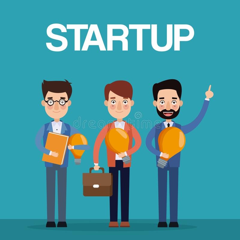 Błękitni koloru tła pracy zespołowej biznesmeni ilustracja wektor