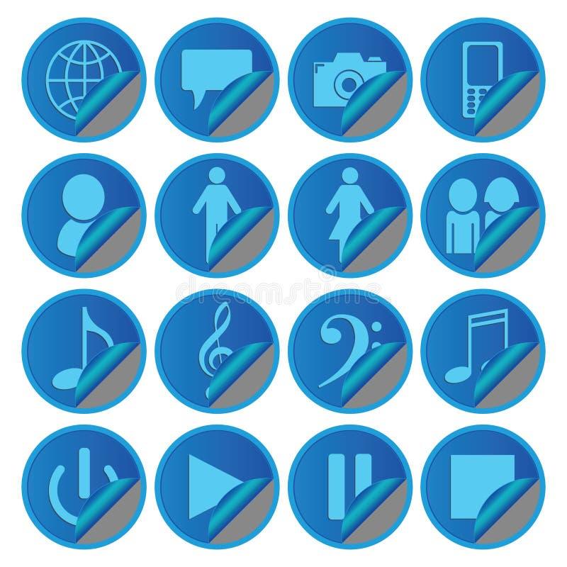 Błękitni Medialni Ogólnospołeczni ikona majchery ilustracja wektor
