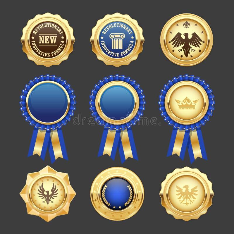 Błękitni nagrody różyczki, insygnia i medale, ilustracji