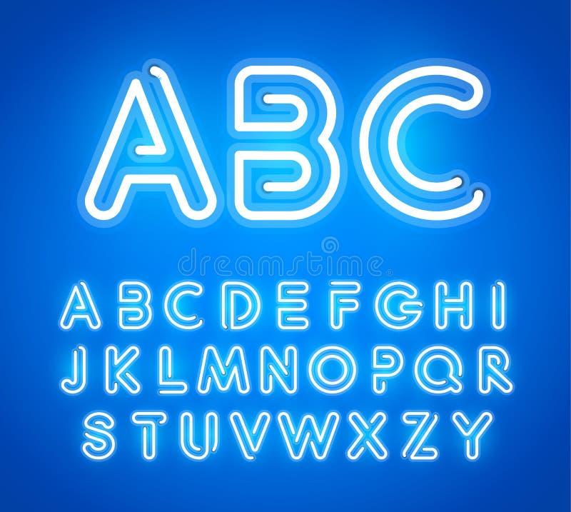 Błękitni Neonowi listy Ustawiający Jaskrawa rozjarzona chrzcielnica Łaciński abecadło od Świecących Neonowych tubk ABC dla baru,  royalty ilustracja