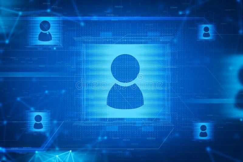 Błękitni ogólnospołeczni środki i ludzie sieć interfejsu ilustracja wektor