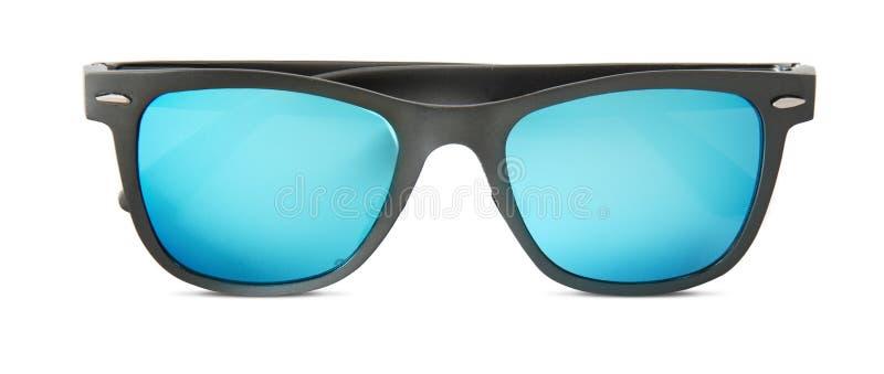 Błękitni okulary przeciwsłoneczni odizolowywający na białym tle zdjęcia royalty free