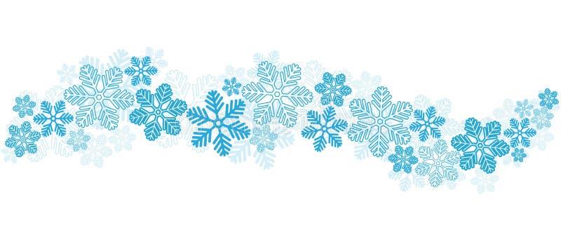 Błękitni płatki śniegu Graniczą na bielu, akcyjna wektorowa ilustracja ilustracja wektor