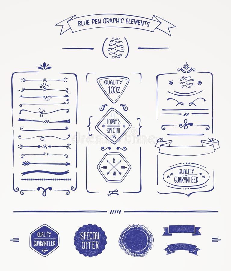 Błękitni pióro grafiki elementy ilustracja wektor