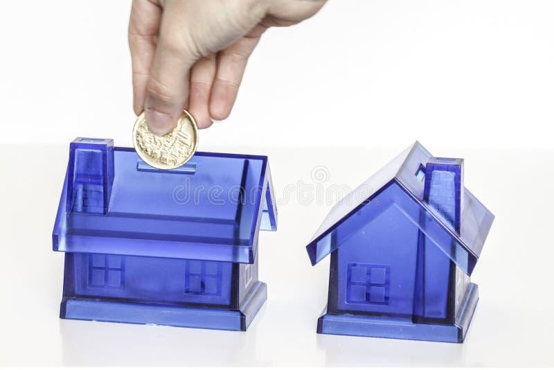 Błękitni pieniędzy pudełka - dom zdjęcia royalty free