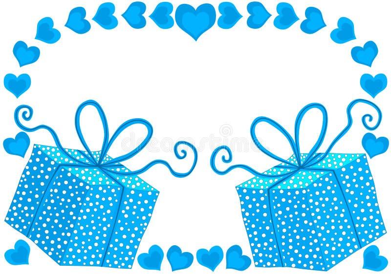 Błękitni prezentów pudełka i serce Urodzinowa karta royalty ilustracja