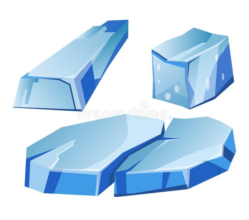 Błękitni przejrzyści nierówni lodowowie składają odosobnione ilustracje ustawiać ilustracja wektor