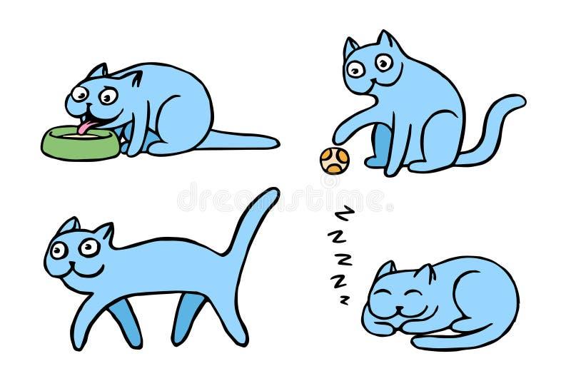 Błękitni pussycat emoticons ustawiający Odosobniona wektorowa ilustracja ilustracji