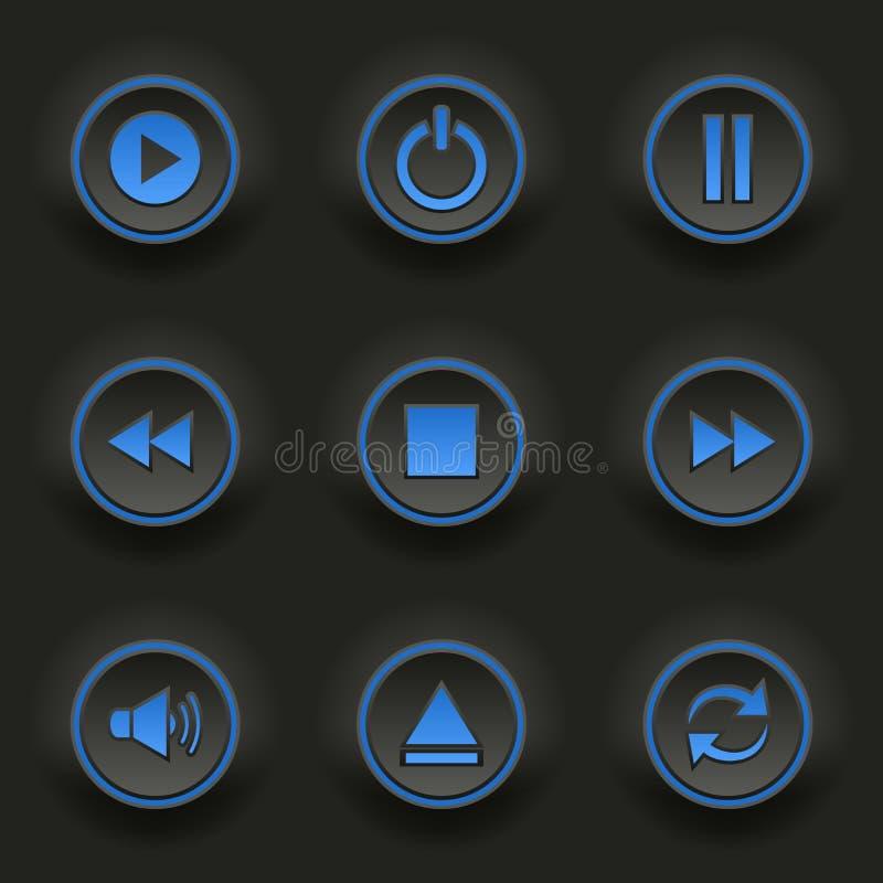 Błękitni round guziki dla sieć gracza ilustracja wektor