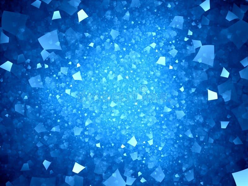 Błękitni rozjarzeni neonowi kształty w przestrzeni ilustracji