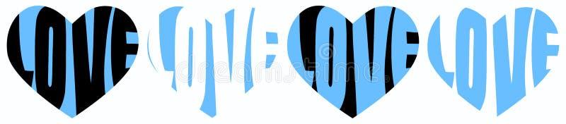 Błękitni serce miłości słowa royalty ilustracja