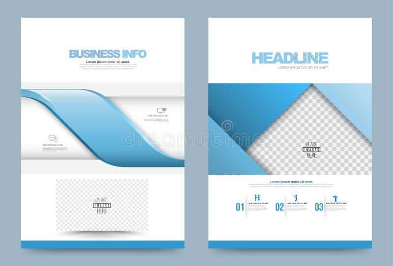 Błękitni sprawozdanie roczne broszurki ulotki projekta szablonu wektoru fala paski projektują ilustracja wektor
