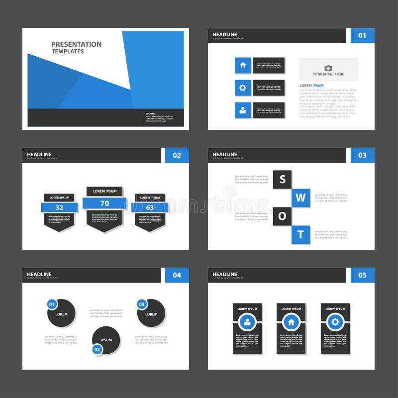Błękitni Wielocelowi Infographic elementy i ikony prezentaci szablonu płaskiego projekta broszurki ustalony reklamowy marketingow ilustracja wektor