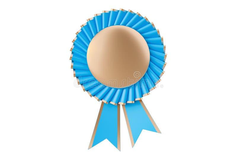 Błękitni wygrania nagroda, nagroda, medal lub odznaka z faborkami, 3D rende ilustracja wektor