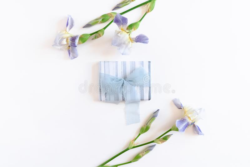błękitny łęku pudełka prezenta faborek Rabatowa rama robić irysowi kwiaty obraz stock