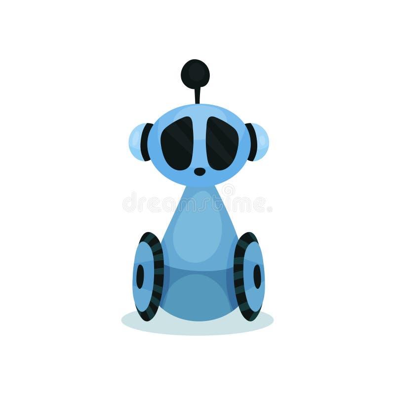 Błękitny śliczny życzliwy robot na kołach, sztucznej inteligenci kreskówki wektoru ilustracja ilustracja wektor