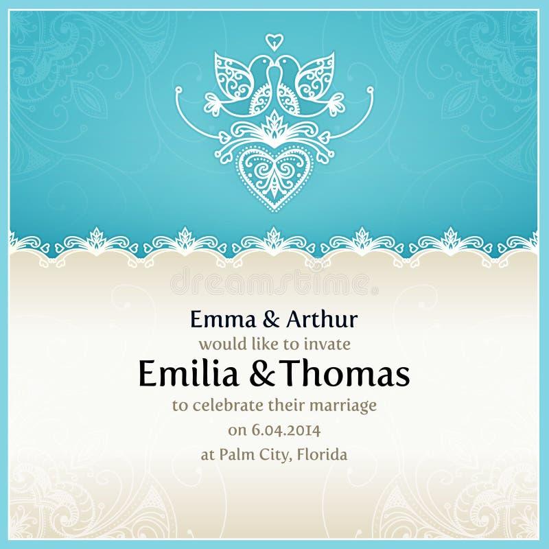 Błękitny ślubny zaproszenie projekta szablon ilustracji