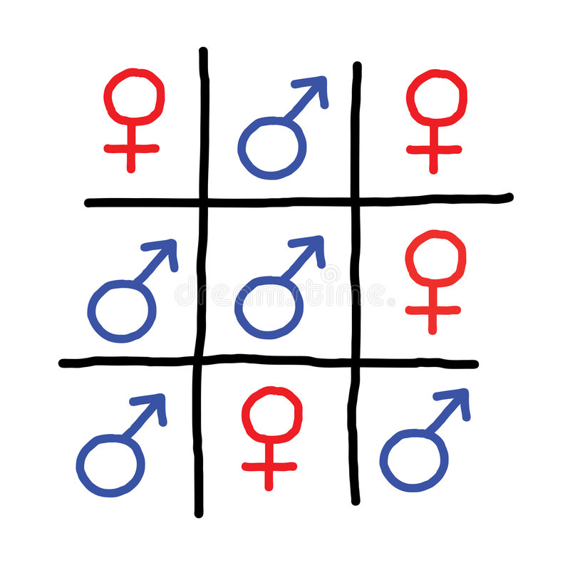błękitny śmiesznej gemowej sztuka czerwoni płci znaki ilustracja wektor