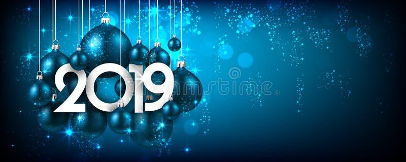 Błękitny świąteczny 2019 nowy rok sztandar z Bożenarodzeniowymi piłkami ilustracji