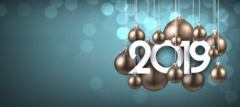 Błękitny świąteczny 2019 nowy rok sztandar z złocistymi Bożenarodzeniowymi piłkami royalty ilustracja