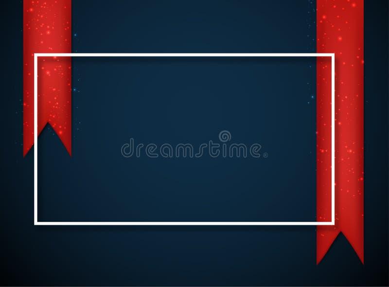 Błękitny świąteczny tło z biel ramowymi i czerwonymi atłasowymi faborkami royalty ilustracja