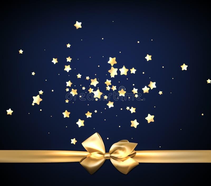 Błękitny świąteczny tło z złotym łękiem ilustracja wektor