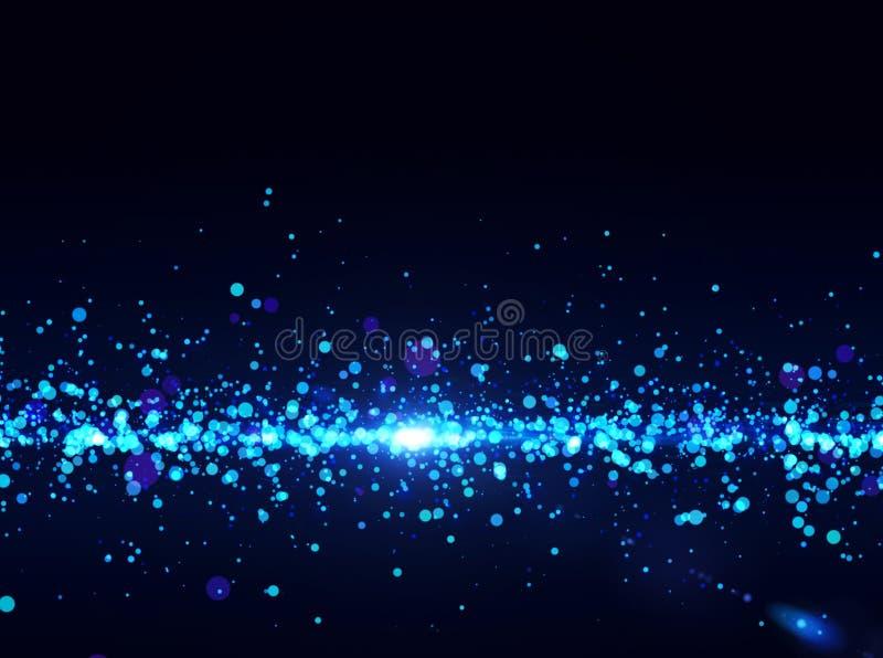 Błękitny światła - cząsteczka abstrakcjonistyczny przepływ. ilustracja wektor