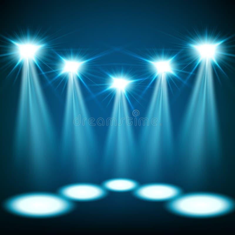 Błękitny świateł reflektorów błyszczeć royalty ilustracja