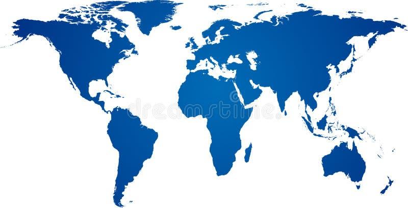 Błękitny światowa mapa. ilustracji