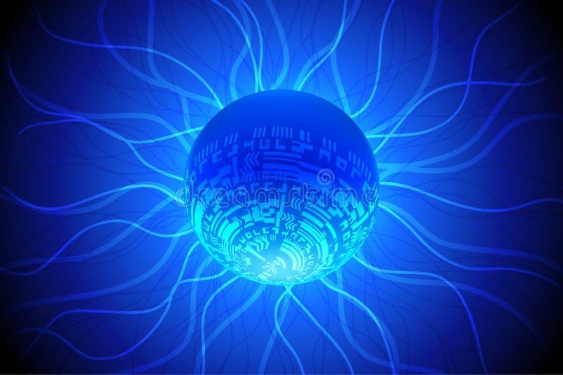 Błękitny Światowy Przyszłościowy technologii tło ilustracja wektor