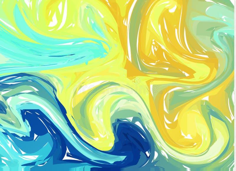 Błękitny żółty abstrakcjonistyczny tło Atrament marmoryzaci tekstury Ręki rysujący marmurowi ilustracje, ebru aqua papier i jedwa ilustracji