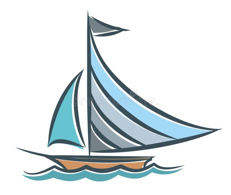 Błękitny żeglowania naczynie w morzu ilustracji