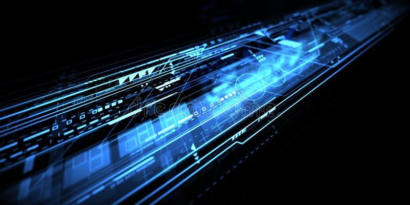Błękitny żywy onstruction technologii abstrakta tło royalty ilustracja
