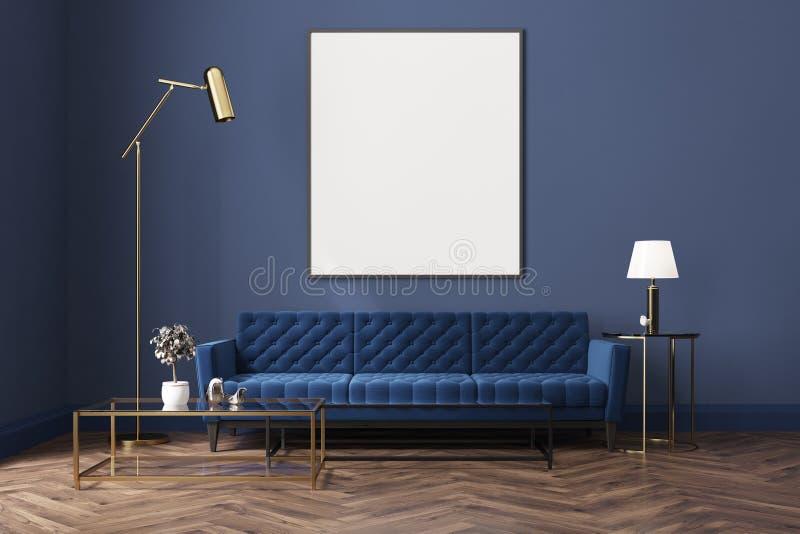 Błękitny żywy pokój, błękitna kanapa, plakat ilustracja wektor