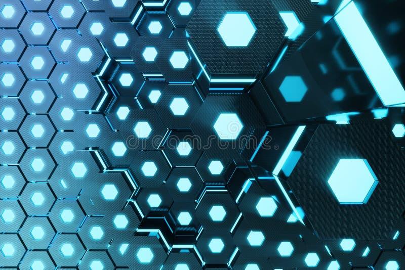Błękitny abstrakcjonistyczny heksagonalny rozjarzony tło, futurystyczny pojęcie, 3d rendering ilustracja wektor