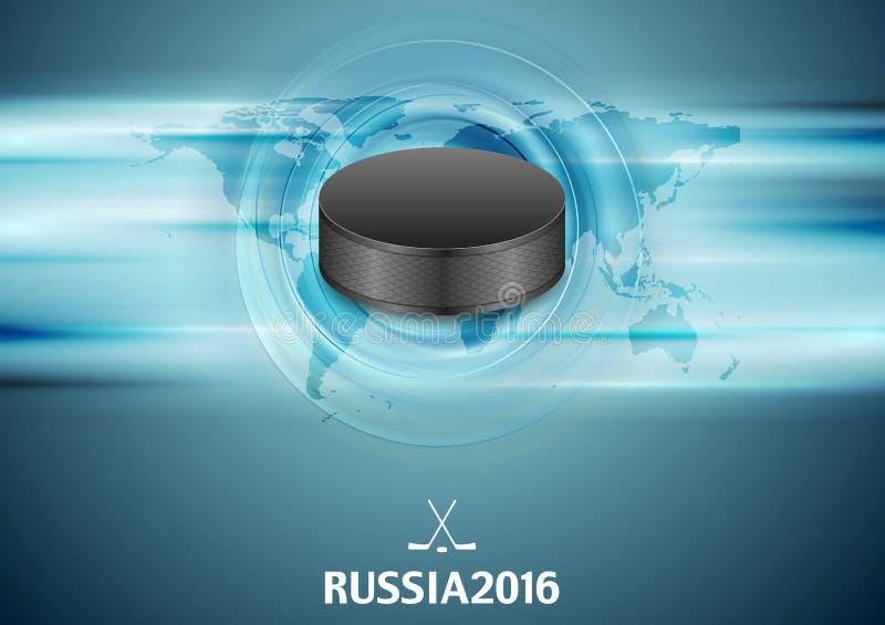 Błękitny abstrakcjonistyczny hokejowy tło z czarnym krążkiem hokojowym ilustracja wektor