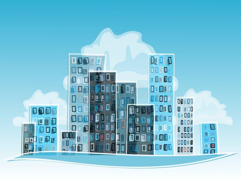 Błękitny Abstrakcjonistyczny kreskówki miasto. ilustracja wektor