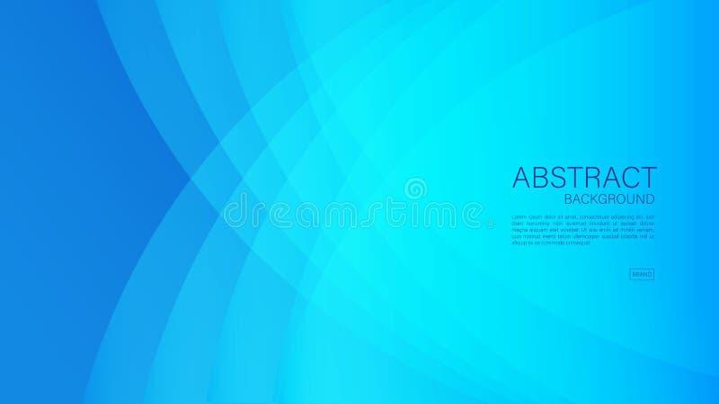 Błękitny abstrakcjonistyczny tło, fala, Geometryczny wektor, grafika, Minimalna tekstura, okładkowy projekt, ulotka szablon,  ilustracji